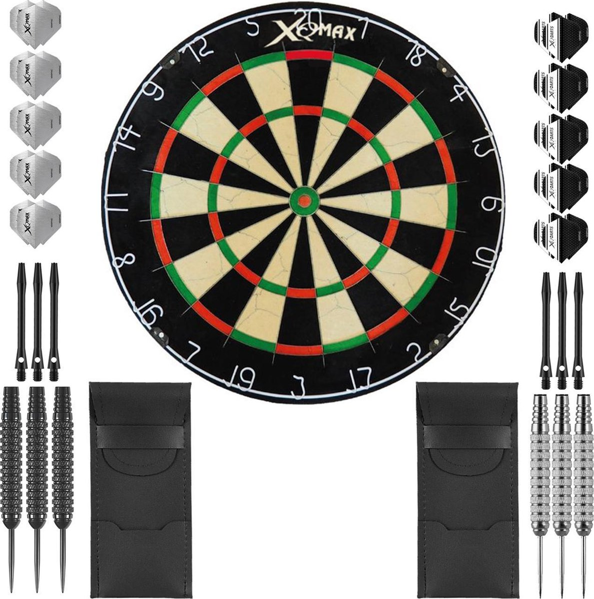 Dragon Darts complete Mega Ray dartset - XQ Max dartbord - dart shafts - dart flights - dartpijlen 24 gram - 100% brass - 2 sets - dartpijlen