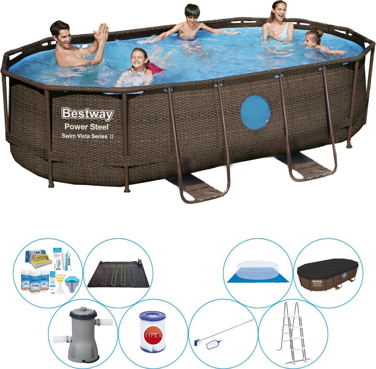 Bestway Power Steel Swim Vista OVAAL 427x250x100 cm - Zwembad Comfort Pakket