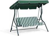 Schommelbank tuin groen tweezit met zonnescherm - Schommelbank - Groen-Wit - 140X110X153CM