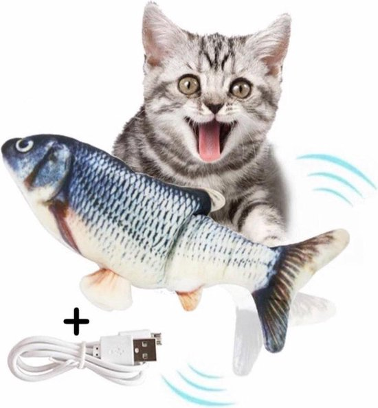 Elektrisch Kattenspeeltje - Elektrische Vis - Kattenspeelgoed - Elektrisch visspeeltje - Bewegende Vis - Automatisch kattenspeeltje - Interactieve speeltjes - Poes - Cat toy - Fish toy - USB Oplaadbaar - 30cm