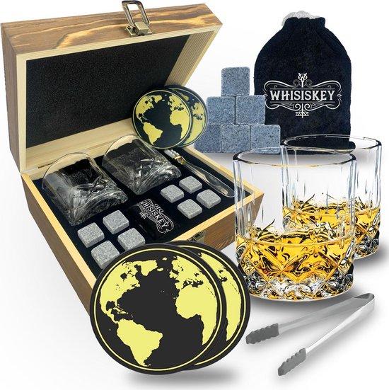 Whisiskey® Luxe Whiskey Set - Incl. 2 Whiskey Glazen, 8 Whiskey Stones, 2 Onderzetters, Fluwelen Opbergzak, Opbergbox - Whisky Cadeauset - Herbruikbare IJsblokjes - Natuursteen Whiskey Stenen Voor Glazen - Ice Cube - Cadeau voor Man & Vrouw