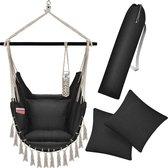 Professional® XXL  Hangstoel voor Binnen & Buiten. Met 2 Kussens, Drankhouder & Boekenvak - XXL Hangstoel (ook voor kinderen). Belastbaar tot 150kg ( Zwart )
