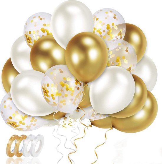 50x Wit Goud Papieren Confetti Helium Feest Ballonnen - Verjaardag Bruiloft Versiering - Abraham Sarah - Ballonnenboog Maken - Latex