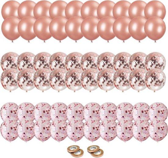 60x Rose Goud Papieren Confetti Helium Feest Ballonnen - Verjaardag Versiering - Bruiloft decoratie - Ballonnenboog Maken - Latex