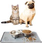 Placemat Hond & Kat - Antislip & Waterafstotend - Placemat Voerbak - Honden Placemat - 48x30 cm - Zwart - Siliconen