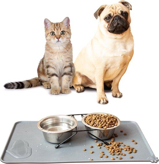 Placemat Hond & Kat - Antislip & Waterafstotend - Placemat Voerbak - Honden Placemat - 48x30 cm - Grijs - Siliconen