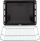 ICQN Bakplaat & Rooster Set Voor Oven - 465 x 375 x 30 mm - Verchroomd ovenrooster en geëmailleerde bakplaat