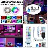 LED Strip Verlichting – 25 Meter (2 x 10m + 1 x 5m) - Multi Color - RGB - Zelfklevend – Incl. App en Afstandsbediening –  Incl. LED Strip Splitter - voor Binnen - Slaapkamer - Woonkamer - Gameroom -12 Volt IP20 - 20 LED chips per meter