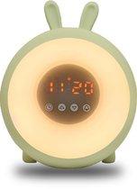 Syrad® Wake-Up Light voor Kinderen - Zonsopgang + Zonsondergang - Natuurlijke wekker - Pastel Groen - Kinderwekker - Slaaptrainer - Lichtwekker - Meisje + Jongen - Slaapwekker - Wekkerradio - Kinder Wekker - Kind