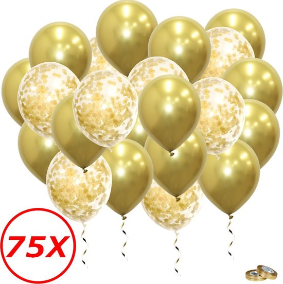 Gouden Ballonnen Gouden Confetti Ballonnen Verjaardag Versiering Helium Ballonnen Bruiloft Feest Versiering 75 Stuks