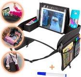 Afbeelding van Kids Auto en Vliegtuig Reistafel voor Kinderen - Autotafel - Speeltafel met Tekentafel & iPad Tablethouder voor lange en verre reizen - Opvouwbaar - Whiteboard - Zomer -  41x32x9CM - Zwart