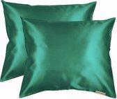 Beauty Pillow® Original - Satijnen Kussenslopen - Voordeelset - Duo Pack - Forest Green - 60x70 cm