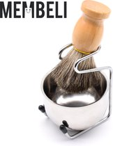 Membeli Scheerkwast Scheerset - Met Scheerkom en scheerkwasthouder - 100% Natuurlijk Haar - voor Mannen