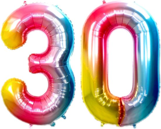 Ballon Cijfer 30 Jaar Regenboog Verjaardag Versiering Cijfer Helium Ballonnen Gekleurde Feest Versiering 86 Cm Met Rietje