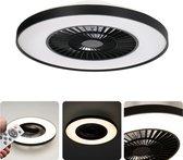 Proventa Premium LED Plafondlamp 60 cm met ventilator - Dimbaar met afstandbediening - Zwart