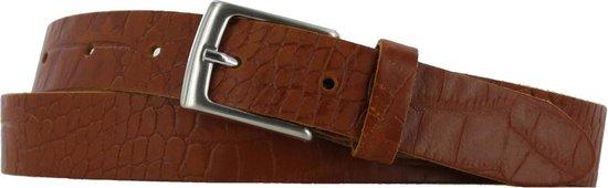 Lederen riem 3 cm breed – Zilver gesp – Leren Broekriem – Pantalon breedte – 100 cm leer Croco print – kleur Cognac / Licht bruin