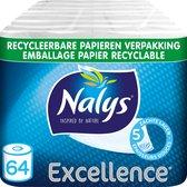 Nalys Excellence Maxi-Vellen Toiletpapier - 5 Lagen - 64 rollen - Papieren Verpakking