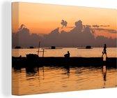 Wateren bij het Nationaal park Kepulauan Seribu tijdens de zonsondergang Canvas 30x20 cm - klein - Foto print op Canvas schilderij (Wanddecoratie woonkamer / slaapkamer)