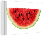 Plakje watermeloen met de pitten mooi tentoongesteld Canvas 140x90 cm - Foto print op Canvas schilderij (Wanddecoratie woonkamer / slaapkamer)