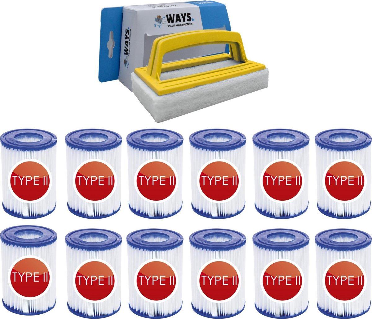 Bestway - Type II filters geschikt voor filterpomp 58383 - 12 stuks & WAYS scrubborstel
