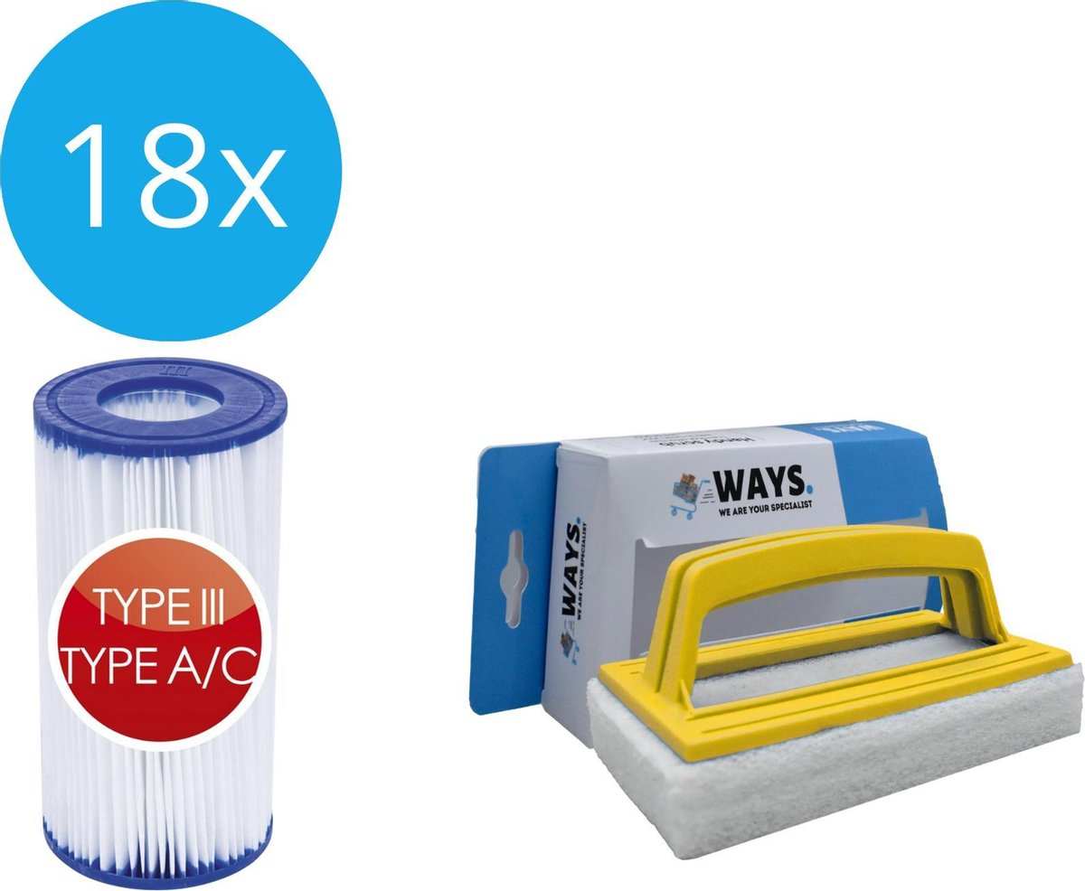 Bestway - Type III filters geschikt voor filterpomp 58389 - 18 stuks & WAYS scrubborstel