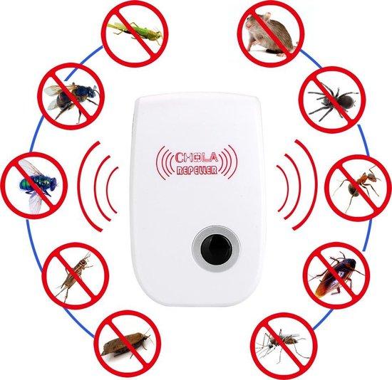 Ongediertebestrijder - muggenoverlast - muizenbestrijder - anti muis - anti spin - anti ongedierte - lamp - geluidsgolven - pest control - pest repeller - anti rat - anti steenmarter - steenmarter verjagen - Wit