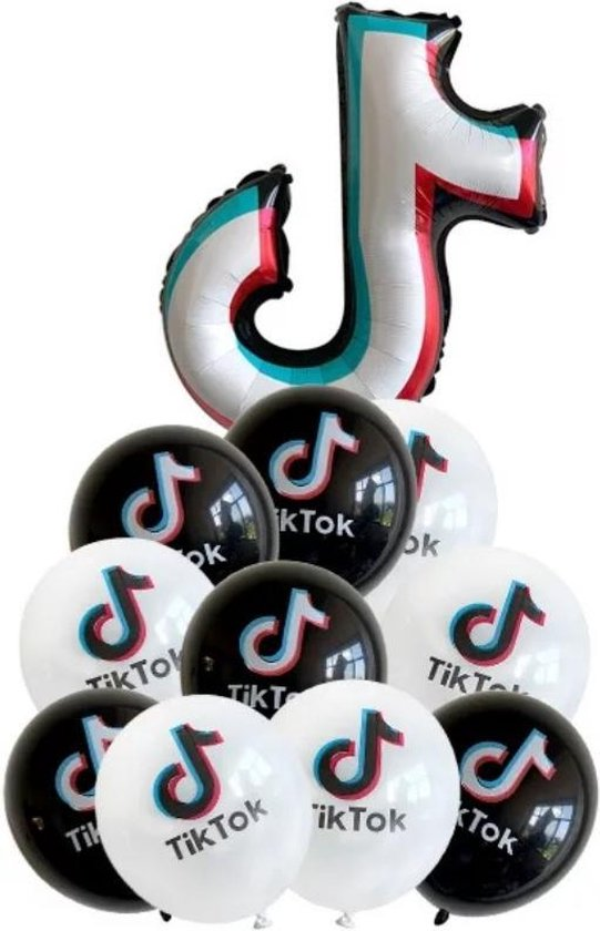 Tik Tok Folie Ballon 5 witte 5 zwarte Ballonnen/ Muziek Noot  Tiktok/Verjaardagsfeestje