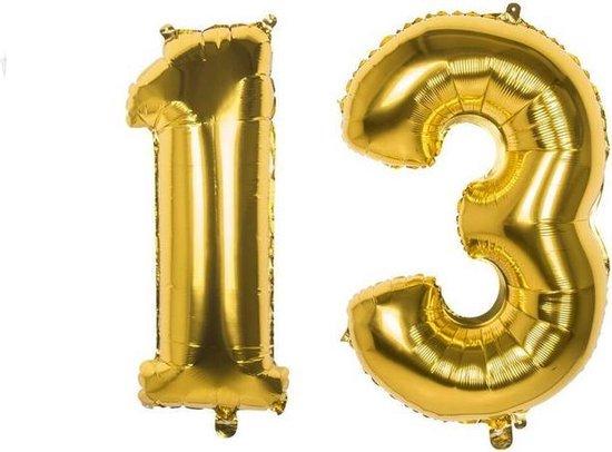 13 Jaar Folie Ballonnen Goud - Happy Birthday - Foil Balloon - Versiering - Verjaardag - Jongen - Meisje - Feest - Inclusief Opblaas Stokje & Clip - XL - 82 cm