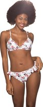 Stevige Dames bikini set met blomen-print spaghettibandjes | push-up, uitneembare vulling, beugels - M, rood