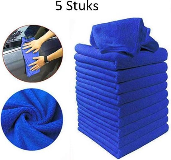 FSW-Products - 5 Stuks - Poetsdoeken - Microfiber auto poetsdoek - Schoonmaak...