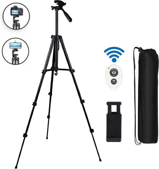 Statief camera & smartphone met afstandsbediening / Tripod smartphone / Tripod camera / statief voor smartphone - verstelbaar - tot 140 cm hoog - statief iPhone - statief telefoon - statief voor telefoon en camera