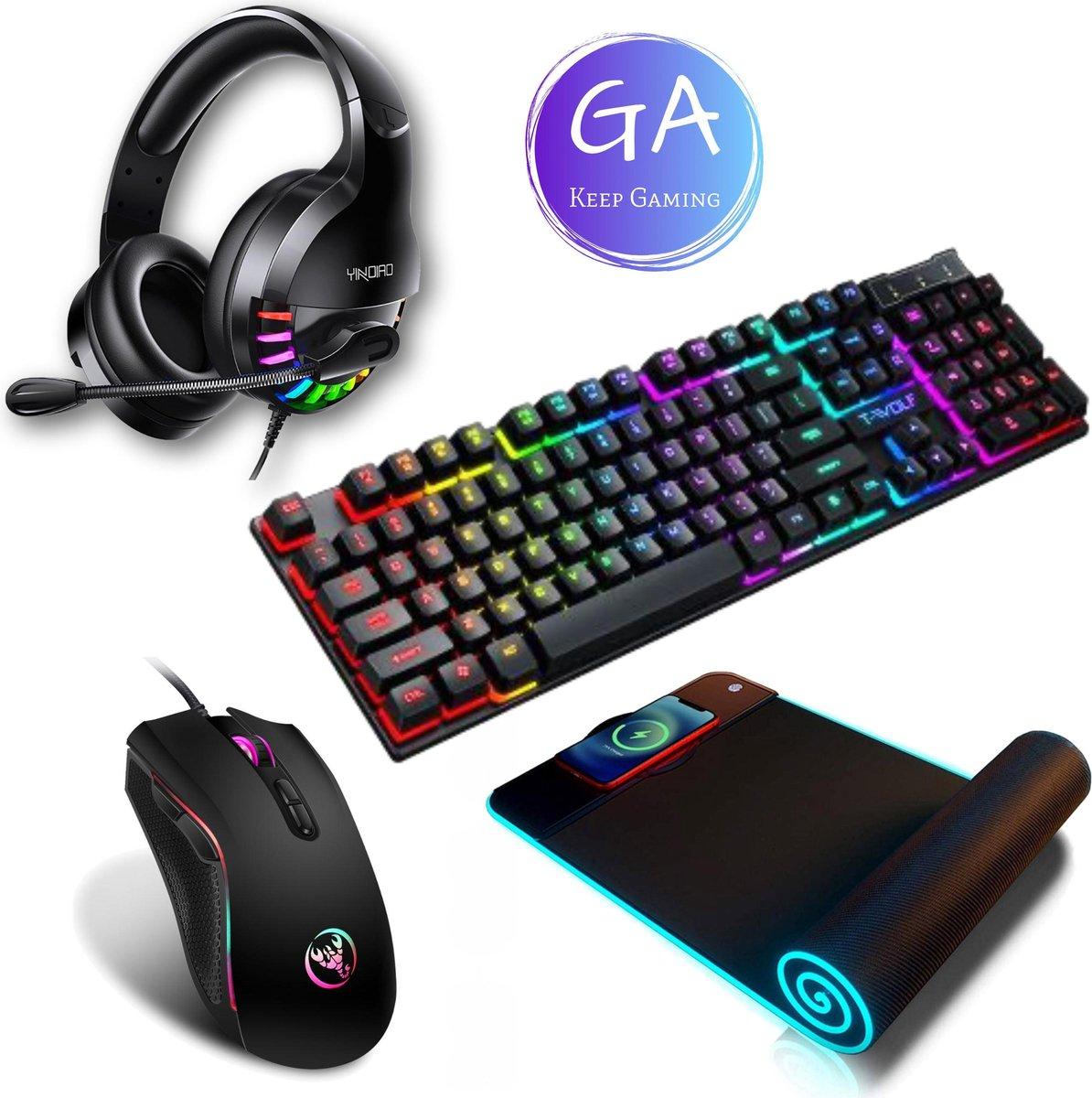 GA Gaming Accesoires Headset, Toetsenbord, Muis & Muismat XXL - Gaming Headset - Game Muis - Gaming