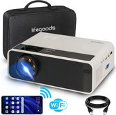 "LifeGoods Mini Beamer - WiFi Connect - 200"" Projectie - Input tot Full HD - HDMI Kabel, Afstandsbediening en Draagtas - Wit"