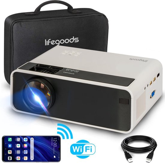 "LifeGoods Mini Beamer - WiFi Connect - 200"" Projectie - Input tot Full HD -..."