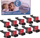 Eletux-B Kinderslot Kastjes - 12 Stuks - ZWART - Kinderbeveiliging voor Kasten - Kastslot - Kast Beveiliging Baby - Veiligheidshaakjes - Kastsloten Baby - Kinderslot Lade - Kind Veiligheidsslot Baby - Lade Beveiliging Kind - Ladeslot