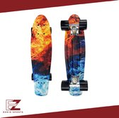 EZRIO SPORTS – Penny Board – Pennyboard – Skateboard – Long Board – Cruiser Skate Board – Penny Board voor Meisjes en Jongens – Water – Vuur – 22 inch – Blauw – Oranje – Rood