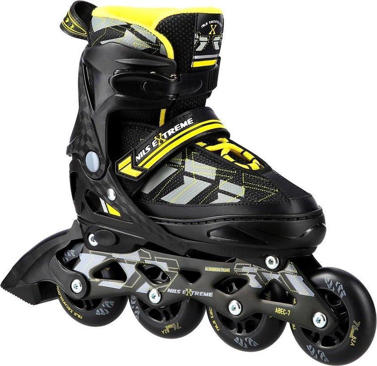 *laatste paar* Nils - Extreme Yellow skeelers / inline skates - ABEC-7 maat: 39-42 verstelbaar.