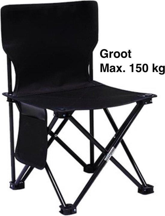 Campingstoel - Strandstoel - Vissersstoel - Visstoel - Rugleuning - Opvouwbare stoel - Zwart - Groot