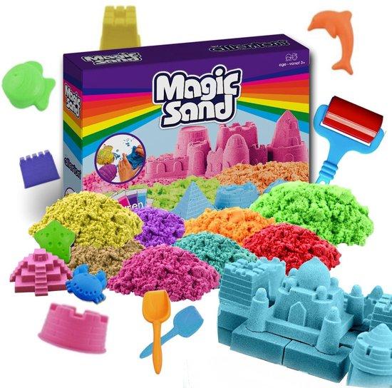 Allerion Magic Kinetic Sand Set – 8 Verschillende Kleuren – Inclusief Zandbak Speelgoed