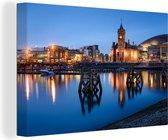 Baai van Cardiff in het Britse Wales Canvas 60x40 cm - Foto print op Canvas schilderij (Wanddecoratie woonkamer / slaapkamer) / Europese steden Canvas Schilderijen