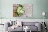 Bloemkool op een houten tafel Canvas 180x120 cm - Foto print op Canvas schilderij (Wanddecoratie woonkamer / slaapkamer) XXL / Groot formaat!
