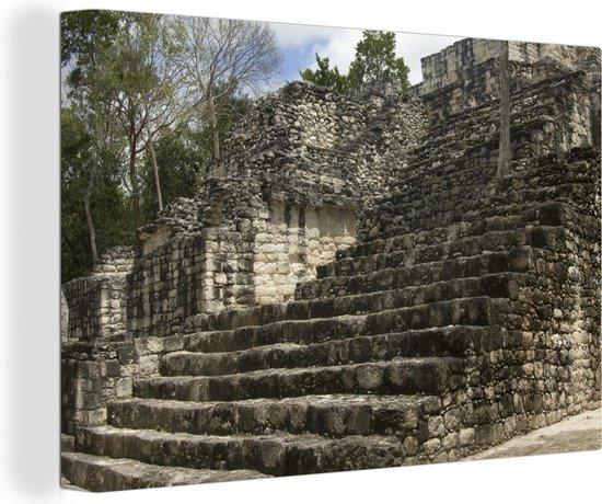Pyramide ruïne in het regenwoud in Calakmul Canvas 120x80 cm - Foto print op Canvas schilderij (Wanddecoratie woonkamer / slaapkamer)