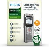 Philips DVT20525 Audio recorder - Stereo MP3 / PCM, 8GB intern geheugen, USB, FM-radio, Accu, Stereo headset, Inclusief 32GB micro SD kaart