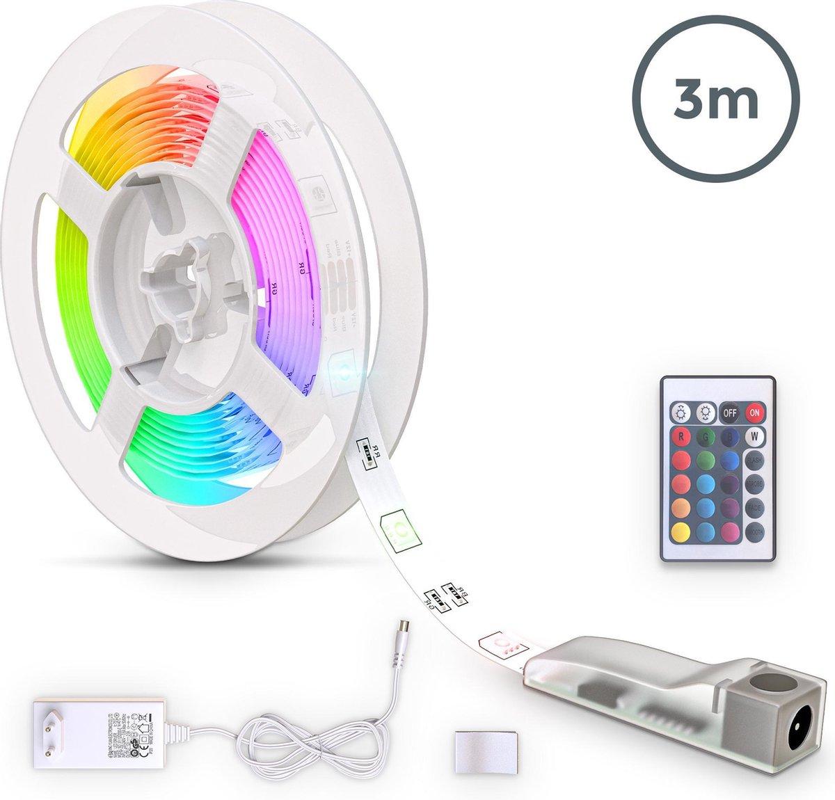 B.K.Licht - LED Strip - 3 meter - RGB kleurverandering - incl. afstandsbediening - zelfklevend