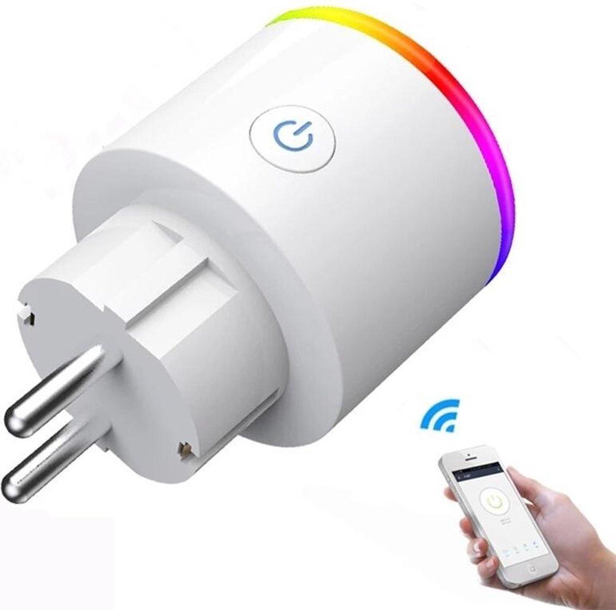 DrPhone WSP5 WIFI Draadloos Smart Plug- Slimme Stekker met RGB - 16A- Smart Life met Alexa en Google Home Assistant Voice Control - Wit