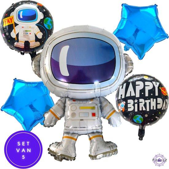 Verjaardag Versiering - Ballonnen Verjaardag - Ruimtevaart Astronaut Thema - Happy Birthday Ballonnen - 5 Stuks - Fienosa
