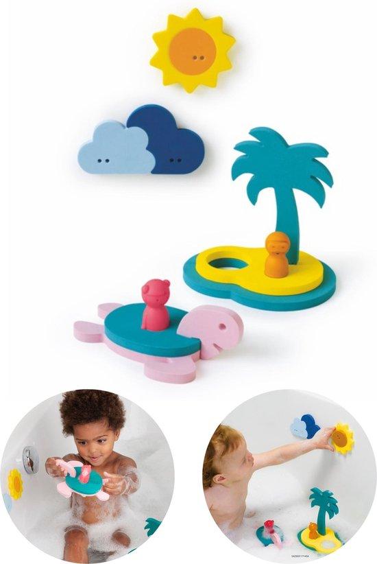 Quutopia Foam Badspeelgoed Badpuzzel Treasure Island met Schildpad - Cadeau Baby Jongen Meisje 1 jaar | 2 jaar | 3 jaar | 4 jaar Blauw