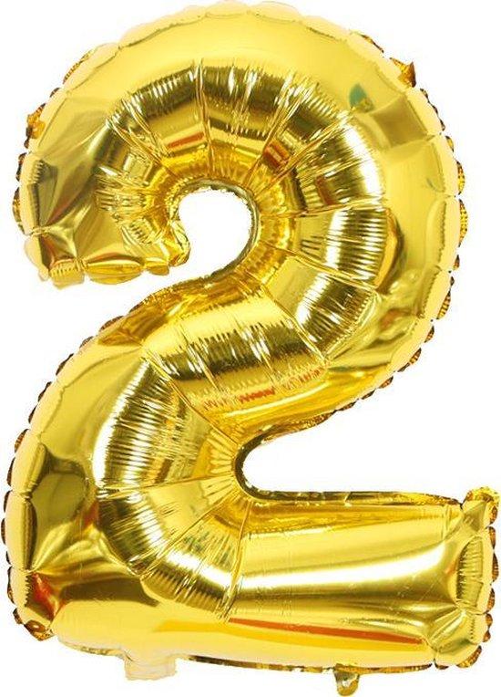 Ballonnen 2 jaar cijfer ballon Babydouche - goud folie helium - 100cm - gouden verjaardag versiering