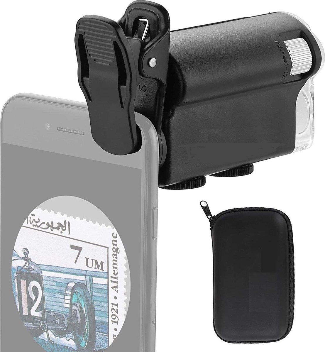 DrPhone DM1 Smartphone Zoom Clip-on Digitale Microscoop - Vergrootglas 60X-100X Met LED & UV Licht Voor Munten Postzegels Bankbiljet Antiek etc - Zwart