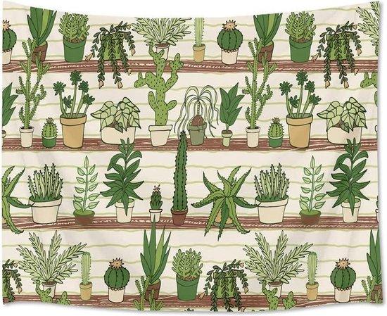 Ulticool - Planten in Plantenpotten Cactus Plant Natuur - Wandkleed  Poster - 200x150 cm - Groot wandtapijt -  Tuinposter Tapestry